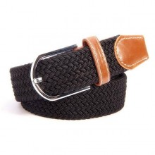 Plaited Ladies Stretch Belt Black