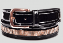 Waldhausen Black Patent Leather Belt with Rose Gold