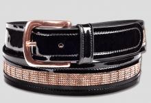Waldhausen Black Patent Leather Belt with Rose Gold